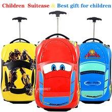 3d crianças mala de viagem do carro bagagem de viagem crianças trole mala de viagem para meninos mala de rodas para crianças rolando mala de bagagem