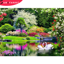 5D DIY Diamond Painting Landscape Cross Stitch Waterfall Diamond Embroidery Swan Full Square/Round Drill Rhinestone Decor Mosaic diapai 100% full square round drill 5d diy diamond painting flower landscape diamond embroidery cross stitch 3d decor a21095