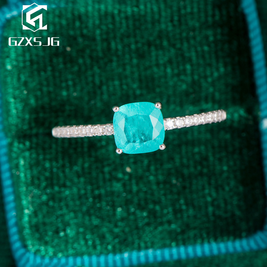 GZXSJG Paraiba Tourmaline Gemstones Ring For Women Solid 925 Sterling Silver Blue Cushion Stone Ring For Anniversary Engagement