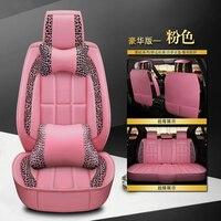 KKYSYELVA Front Rear PU Leather Auto Universal Car Seat Covers Automobile seat cover Car Seat Cushion Set Interior Accessories
