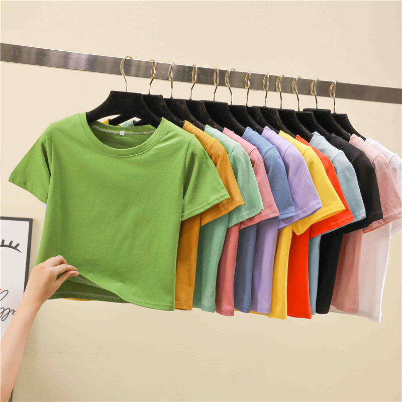 Candy Color Short Sleeve Fashion Crop Tops Solid Color Casual Tshirts Women 2020 New Summer T Shirt Female M L XL