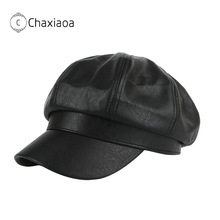 Beret-Cap Octagonal-Cap Faux-Leather Women CHAXIAOA Solid Classy Fall Pu-Peaked Retro