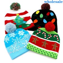 """Светодиодный вязаная шапка """"Счастливого Рождества"""" дети взрослые дерево снежинка Шапочка-бини с мультяшным рисунком тёплая шапка Новогоднее Рождественское украшение"""