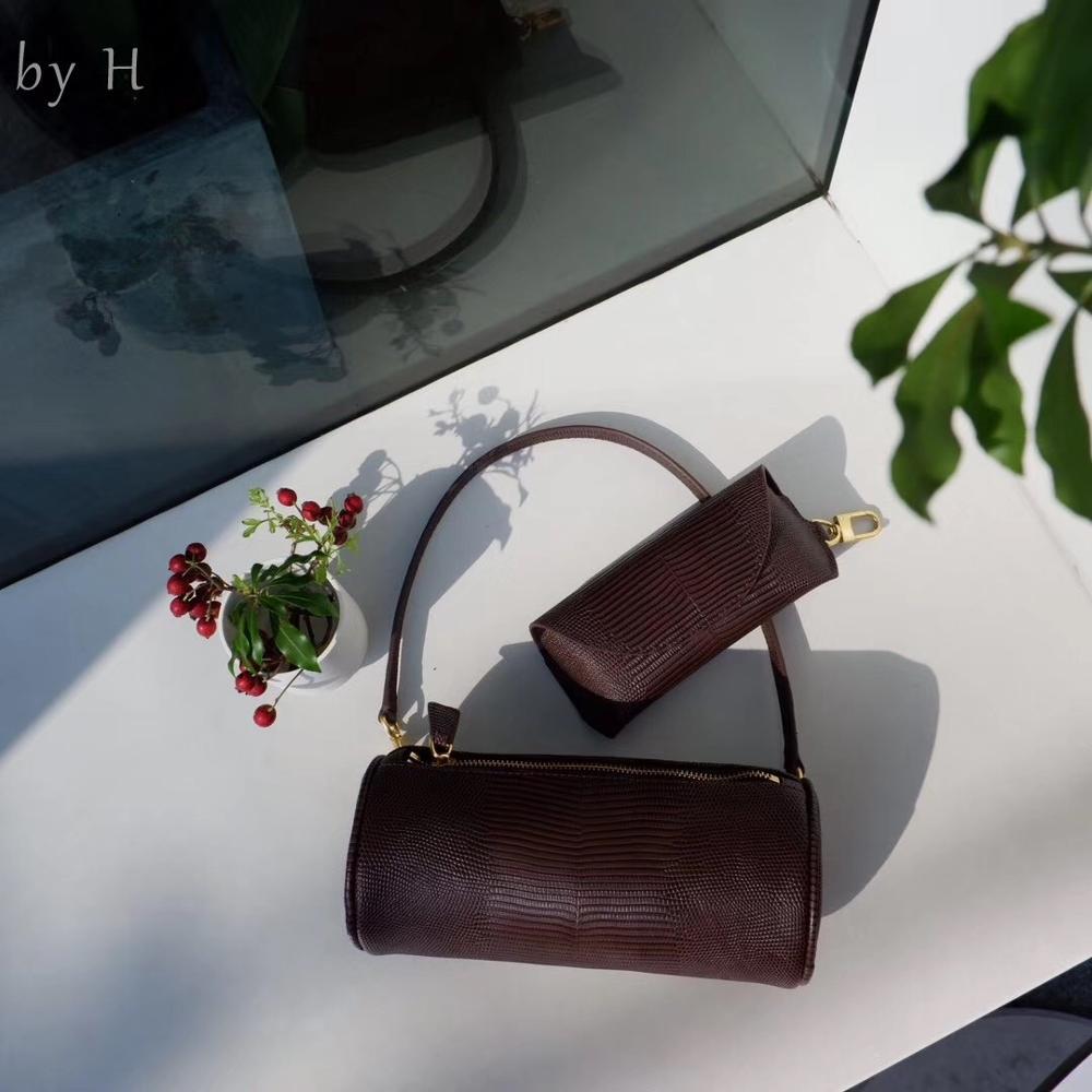 by H 2019 Winter Collection Lizard Print Round Pillow Bag Fashion Designer Small Shoulder bag Key Bag Light Green Baguette Chic