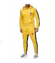 2019 Autum New Side Stripe Two Piece Set Mens Hoodies Cotton National flag Print Hoodie Man Fashion Casual Hoodie Sweatshirt grey causal two side pockets hoodie