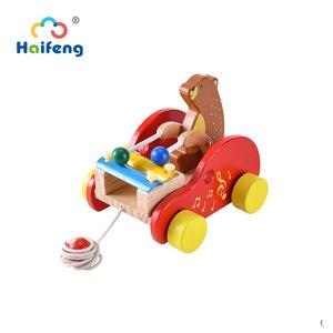 Детские игрушки Pull Line, маленький медвежонок, стучится на пианино, эвкалипт, деревянная дроссельная игрушка, автомобиль, дружелюбный для дет...