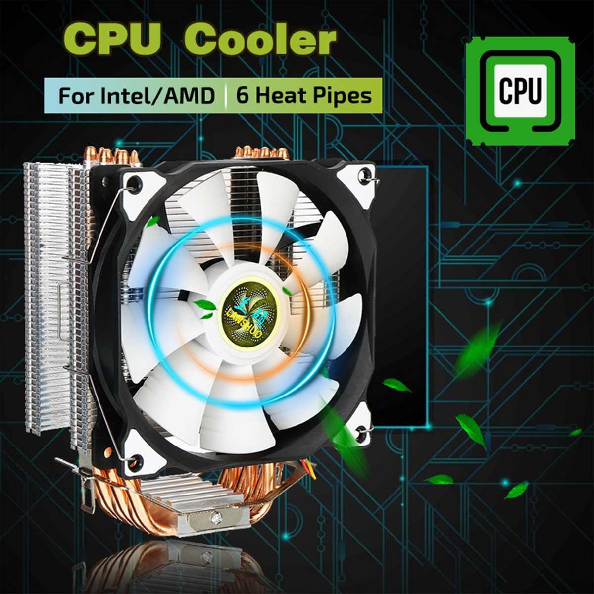 120 мм 6 медных тепловых труб, 4-контактный кулер для процессора, вентилятор охлаждения радиатора для Intel LGA 775/1150/1151/1155 и AMD