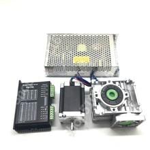 Ratio 30:1 Turbine Worm Gearbox RV30 Reducer +Nema23 1.2NM 56MM Stepper Motor+5.6A DM556 Drive+DC 24V 200W Power Supply Kit