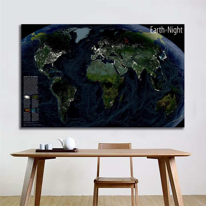 Non-woven World Map 150x100cm Satellite Map Earth At Night Foldable World Map The Night Of The World