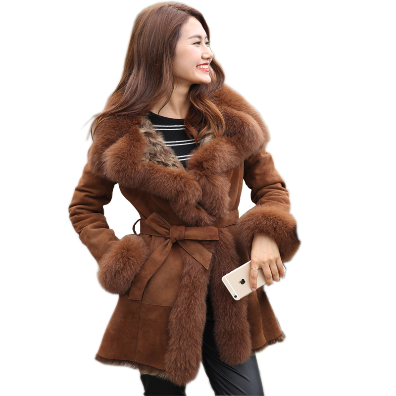 2019 Winter Ladies' Genuine Natural double face Fur Coat Jacket with fox Fur collar Women long Fur Outerwear Coats Jacket