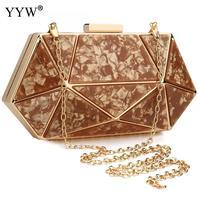 Rose Gold Acrylic Geometric Clutch Bag Luxury Designer Clutch Prom Party Formal Handbag Ladies Marble Wedding Purse Bolso Mujer