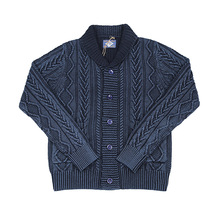 BOB DONG Shawl Collar Indigo Cotton Cardigan Jacquard Pattern Sweater For Men