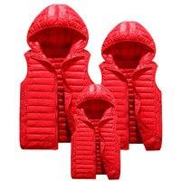 2019 Winter Family Matching Outfits Mother Kids Lightweight Cotton Vest Men Women Warm Waistcoat With Hood Plus Size 4XL Unisex