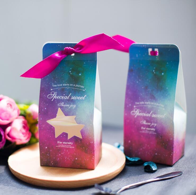 20 pièces étoiles thème bonbons boîtes petite boîte-cadeau avec ruban fête faveur décoration bricolage doux Cookie boîtes à gâteaux de mariage