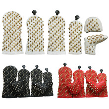 Skull Rivets Golf Headcover Driver Fairway Hybrid Putter PU Leather Magnetic Closure Golf Head Covers Drop Ship