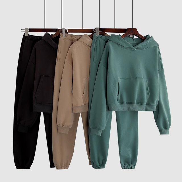 Two Piece Set Womens Outfits Y2k Oversized Tracksuit Suit Short Hoodies Tops Casual Sweatshirts Jogging Pant Suits Sweatpants 6