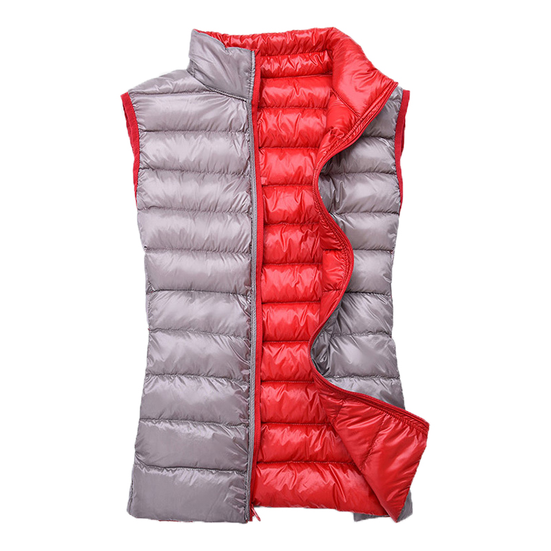 Duck Down Reversible Women's Warm Vests Sleeveless Quilted Stand Collar Casual Female Jackets 2019 Autumn Winter Woman Waistcoat