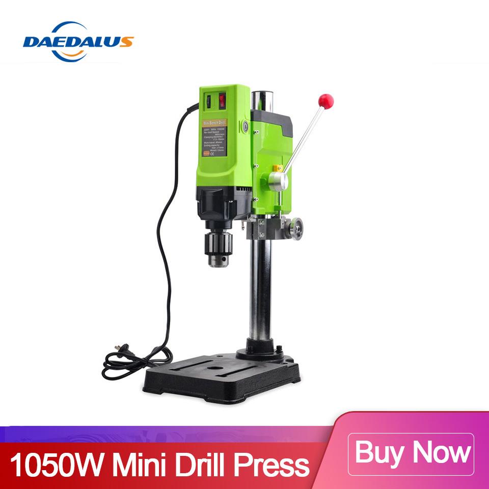 1050W Mini Drill Press BG-5157 Drilling Machine Speed 3-16MM & WorkTable & Bench Vise For Wood/Aluminum Metal DIY Power Tools