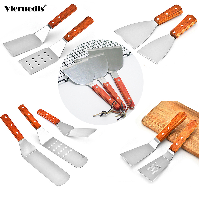 Grill Turner Griddle Wooden-Handle Cooking Utensil Kitchen Spatula Pancake Metal Stainless-Steel
