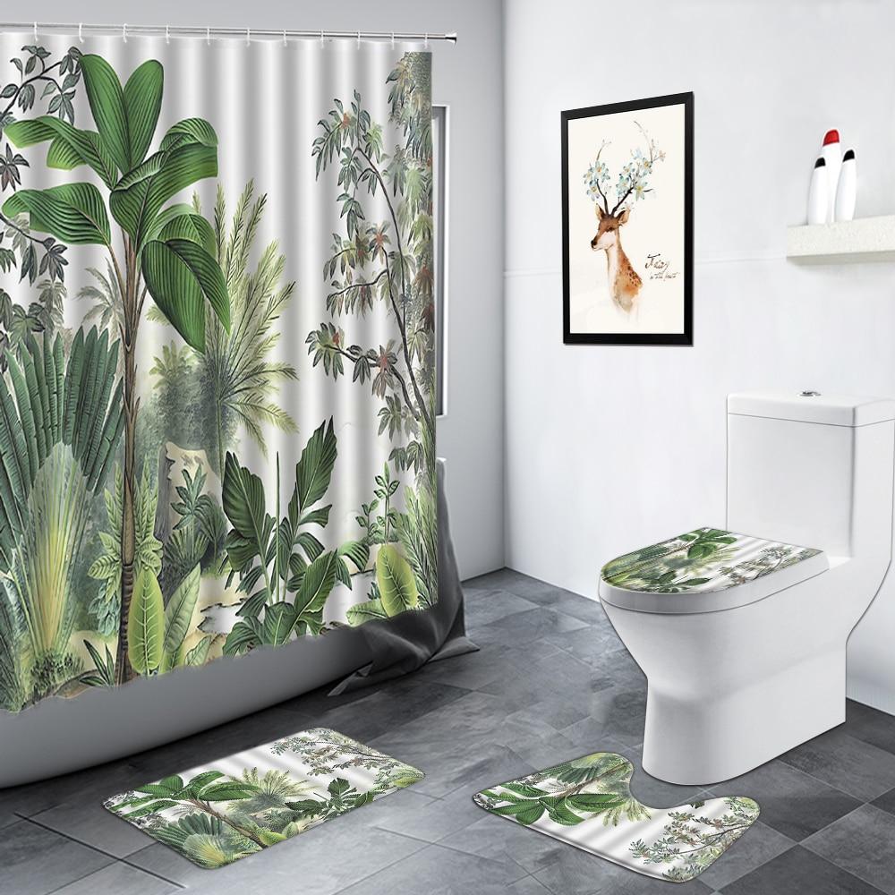 Tropical Plant Shower Curtains Green, Jungle Bathroom Decor
