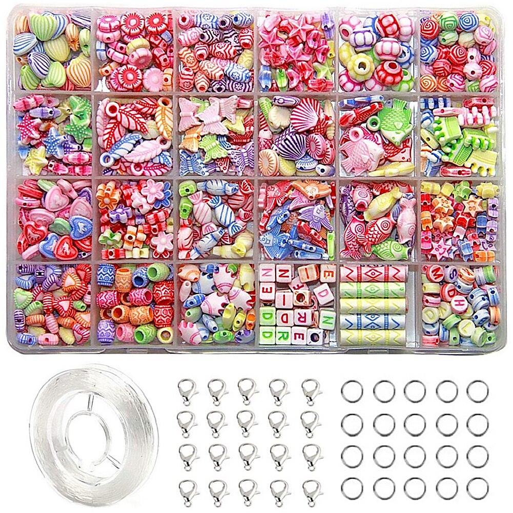 Juego de 24 tipos de cuentas para niñas, joyería para niños, Kits de fabricación artesanal, pulsera, collar, joyería, Kit de bricolaje para niñas, regalos de juguete