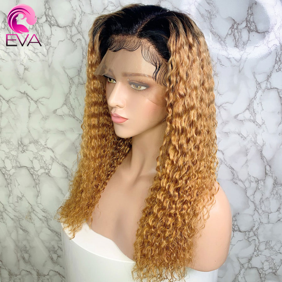 Eva Hair Curly Ombre 1b/27 13x6 Lace Front Human Hair Wigs Pre Plucked With Baby Hair Brazilian Remy Hair Wigs For Black Women