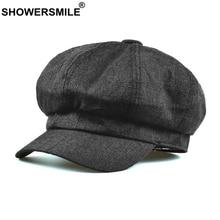 SHOWERSMILE Cotton Linen Newsboy Cap Summer Beret Hats for Women British Style Solid Black Octagonal Cap Ladies Baker Boy Hat