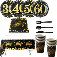 30/40/50/60 Year old Adult birthday disposable party tableware 30th Golden memory  glitter Paper plates cups tablecloths decor 6 page happy 30 40 50 birthday paper sticker 30 40 50 year old event party gift and candy food stickers anniversary party decor