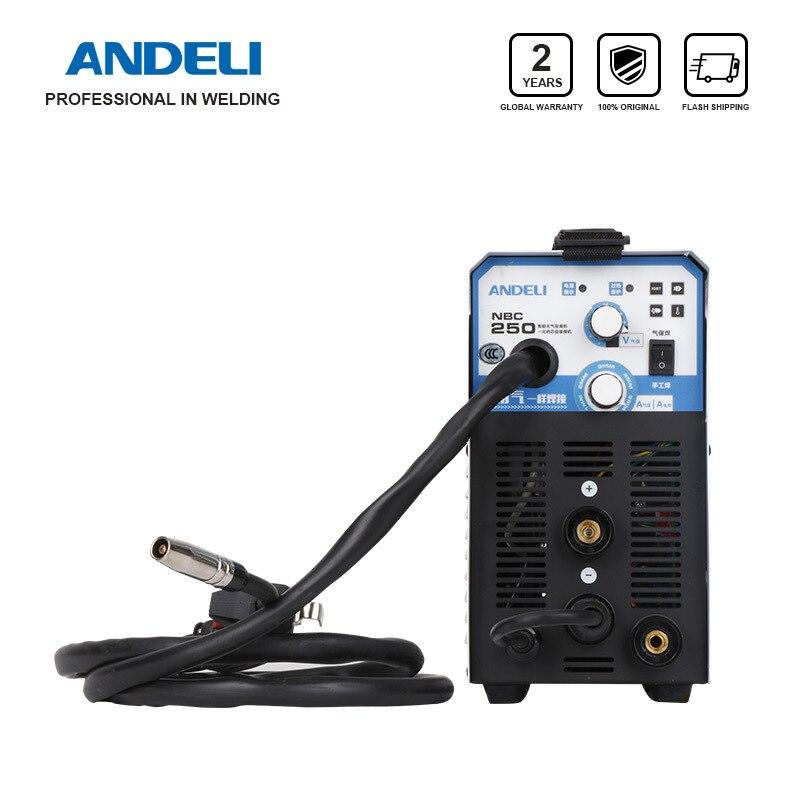 Andeli Digitale Huishoudelijke Eenfase MIG-250ME 2 In 1 Mig schweißer Lassen Maschine Zonder Gas Flux Core Draad Omvormer Lasser