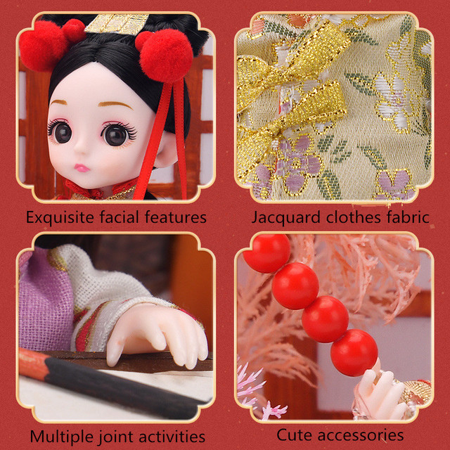 BJD 16 CM Doll Chinese National Costume 13 Articulated Movable Fashion Girl Diy Dress Up Toy Collection Decoration New Year Gift