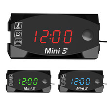 Horloge numérique 3 en 1 DC 6V-30V, thermomètre + voltmètre de tension, affichage LED, testeur étanche IP67 pour moto, bateau et voiture