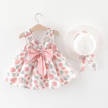 Baby Girls Summer Dresses With Straw Hat Toddler Baby Kids Girl Sleeveless Strap Dot Print Bow Dresses Kid Girl Party Dress girls baby girl palm print swimsuit with hat