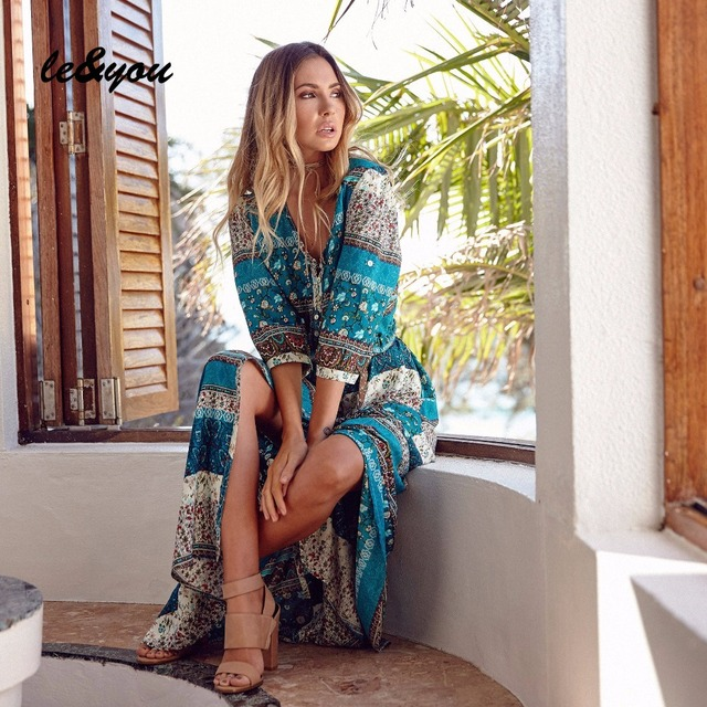 Women's dress Summer Vintage sexy bohemian Oversized fashion long sleeve robe 4