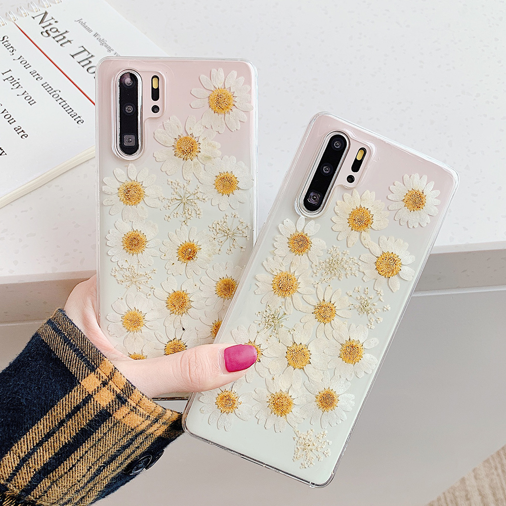 SUYACS <font><b>Cute</b></font> Daisy Flower Transparent <font><b>Phone</b></font> <font><b>Case</b></font> For <font><b>Samsung</b></font> S10e S10 <font><b>S9</b></font> S8 Plus Note 10 Pro 9 8 Soft <font><b>Phone</b></font> Back Cover <font><b>Cases</b></font> image