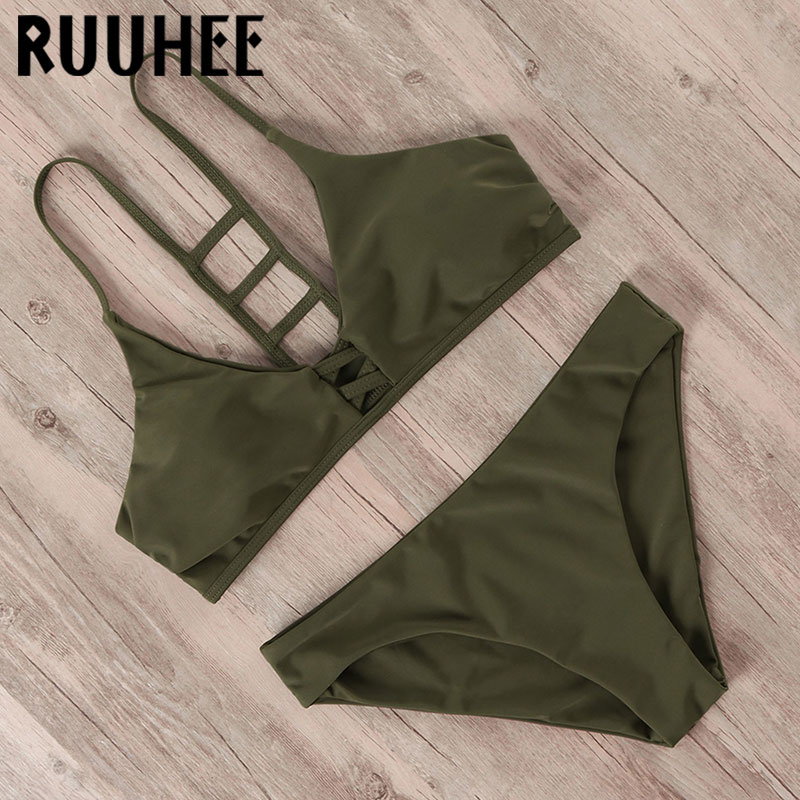 RUUHEE Bandage Bikini 2020 Women Hollow Out Swimwear Push Up Swimsuit Solid Swimming Suit Sexy Summer Bathing Suit Bikini Set
