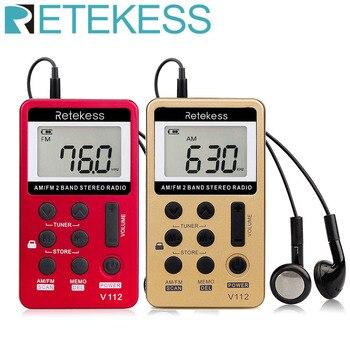 RETEKESS V112 Mini Handheld Radio Portable FM AM 2 Band Digital Pocket radio Receiver earphone Speaker For Walkman go hiking цена 2017
