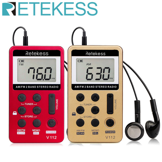 RETEKESS V112 Mini Handheld Radio Portable FM AM 2 Band Digital Pocket radio Receiver earphone Speaker For Walkman go hiking