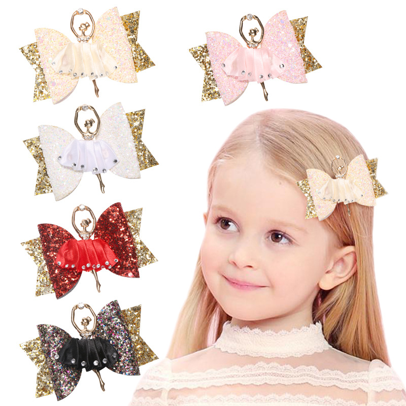 10pcs/lot Adorable Ballet Girl Glitter Hair Bows for Kids Sequins Hair Clips Sparkly Party Hairgrips Fashion Hair AccessoriesHair Accessories   -