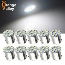 10 pces venda quente 1156 ba15s p21w 9 smd 2835 led carro indicador automático turno luz lateral lâmpada de estacionamento dc 12v 24v
