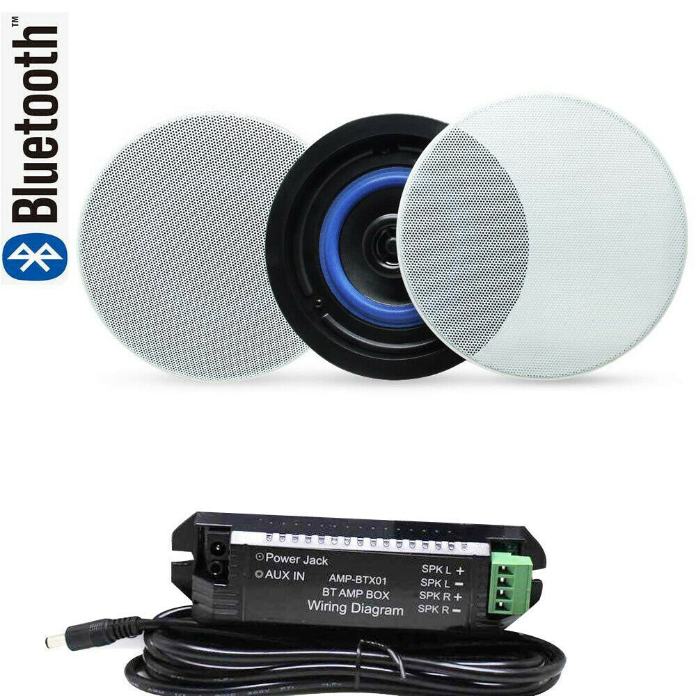 Herdio 160Watts 42 Way Ceiling Bluetooth Speakers Complete Kit Easy To Install Ceiling Speakers Suitable for Bathroom Kitchen SPA Room