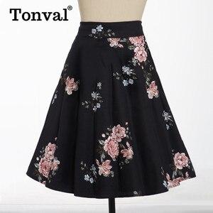 Image 4 - Tonval Pioen Bloemen Vintage EEN Lijn Zwarte Flare Swing Rokken Vrouwen Zomer Plus Size Katoen 50S Retro Skater Rok