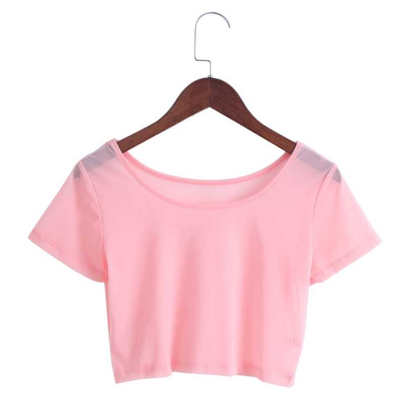 5 Colors Women Semi-transparent Mesh Crop Tops Girl Short Sleeve T Shirts Tees