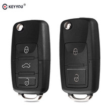 KEYYOU 2 button Folding Car Remote Key Flip Folding Key Shell Case For Volkswagen Vw Jetta Golf Passat Beetle Skoda Seat Polo B5(China)