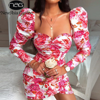 NewAsia Garden Bodycon Party Dress Women Sexy Square Collar Can Off Shoulder Ruffles Elegant Dress Vintage Floral Print Dress off shoulder random floral print dress in pink