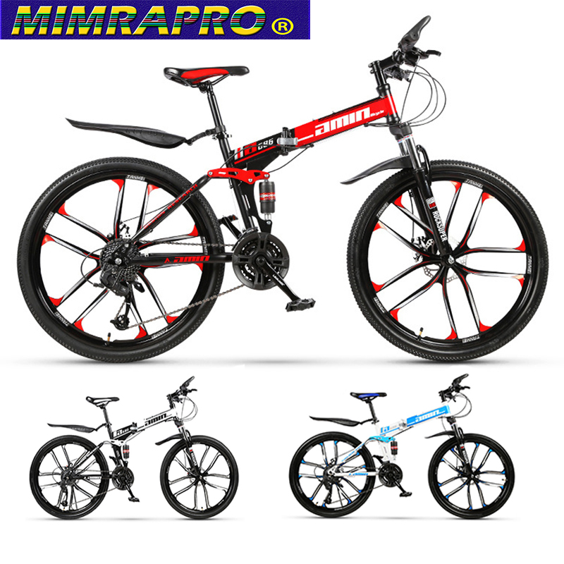 MIMRAPRO 26 Inch Folding Bike High-carbon Steel Mountain Bike Bicycles 21 Speed Disc Brakes MTB Bikes  3 Colour