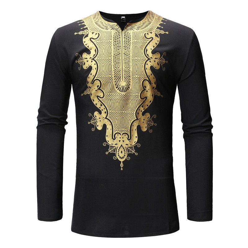 Men African Clothing Dashiki V Neck T Shirt Men Hipster African Clothes Slim Fit Long Sleeve Africa Tribal Shirt Camisas Hombre