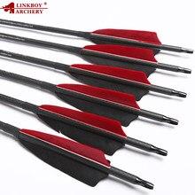 6/12 pçs linkboy tiro com arco puro 100% 3k setas de carbono id6.2mm 32