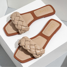 2020 dokuma terlik kadınlar üzerinde kayma slaytlar sandalet moda kare ayak deri düz sandalet kadın rahat Flip flop artı boyutu 42