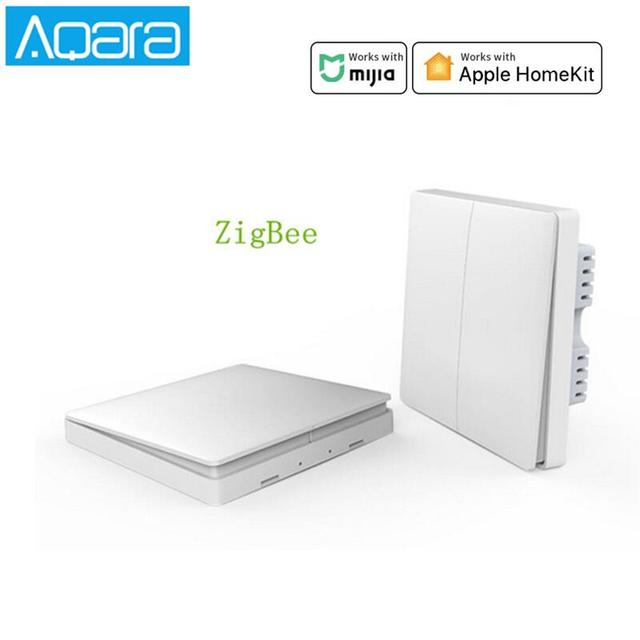 Aqara Interruptor de pared con Control de luz inteligente ZiGBee, aplicación remota para teléfono inteligente, cable neutro y en vivo (línea cero y Fuego), ZiGBee