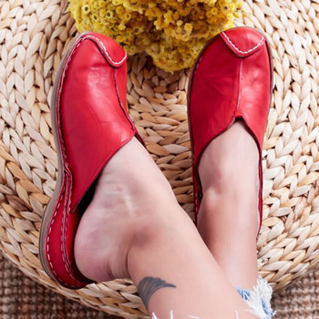 2020 Fashio Spring Summer Women New Slipper Casual Leather Handmade Flat Shoes Woman Round Head Comfortable Ladies Women's Shoes